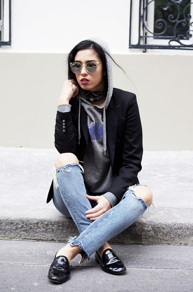 Fake sweatshirt outfit l Teessue Zara ripped denim Missguided l THEDEETSONE l http://thedeetsone.blogspot.fr