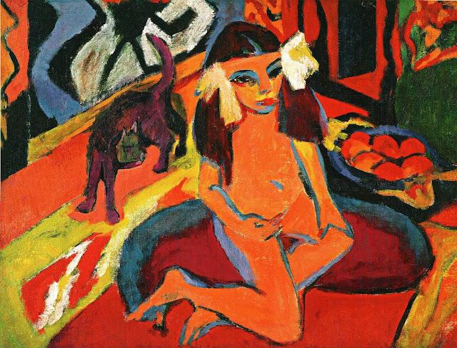 Ernst Ludwig Kirchner, Madchen mit Katze, Franzi, 1910, oil on canvas, 88.5 x 119cm