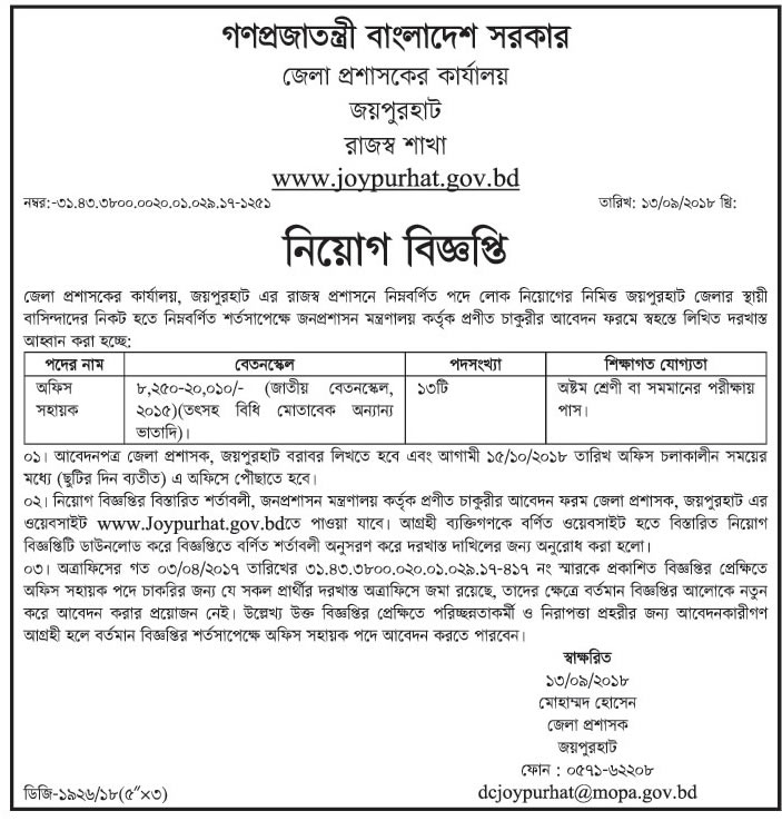 Joypurhat District Job Circular 2018
