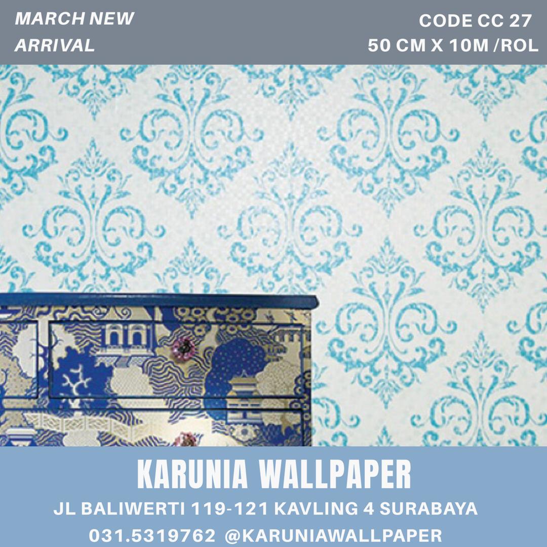 jual dinding wallpaper klasik biru surabaya