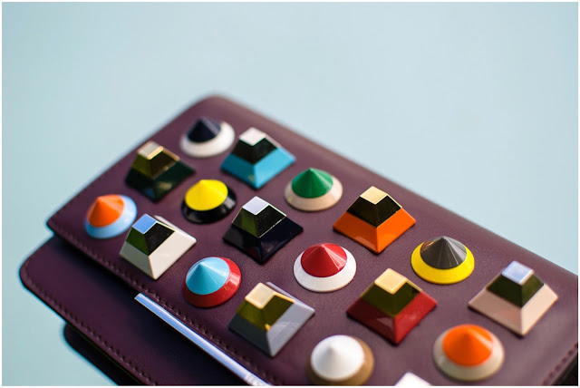 Burgandy Fendi wallet with plexiglass studs