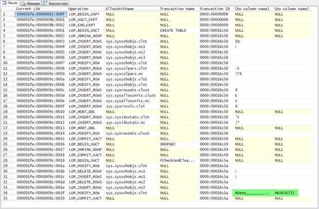 Transaction log entries