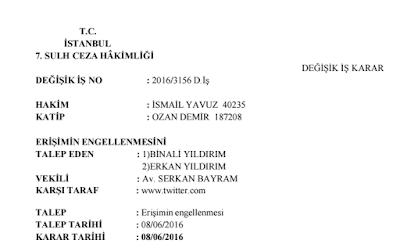 twitter sansür + başbakan tweetleri engellledi + mahkeme kararı
