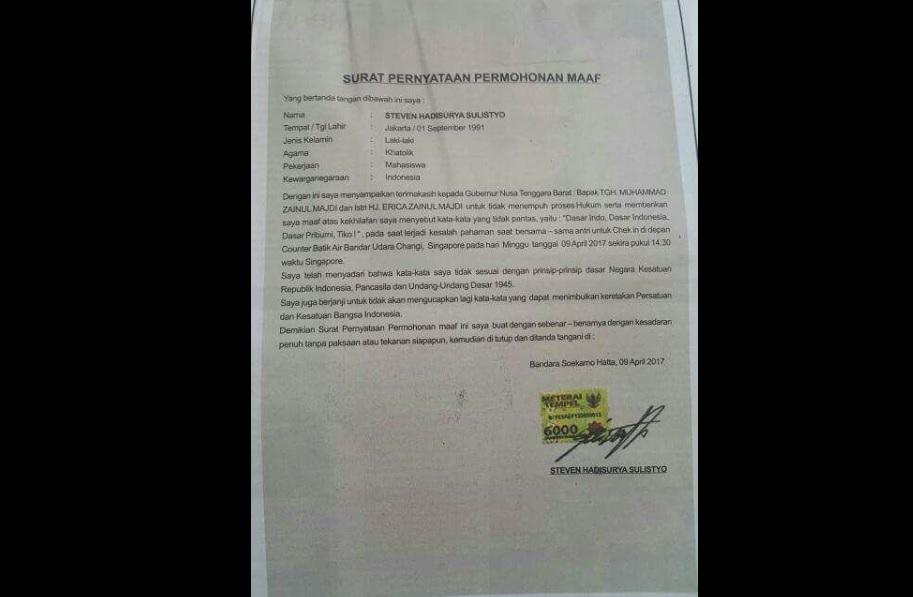 Surat pernyataan permohonan maaf Steven Hadisurya Sulistyo