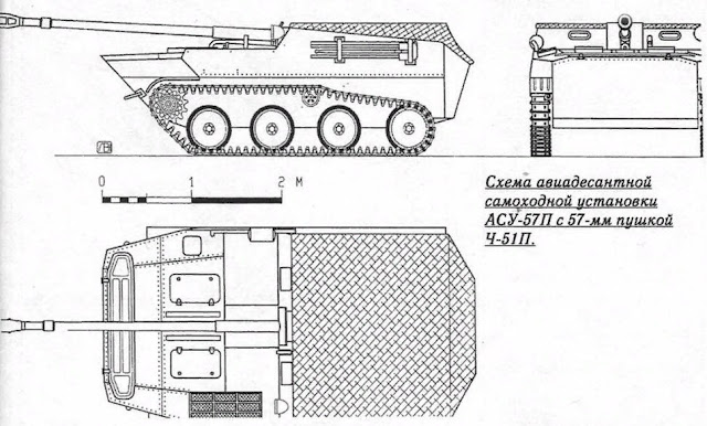 Схема АСУ-57 с 57-мм пушкой Ч-51П