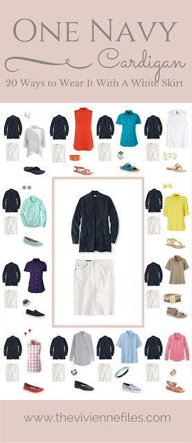 One navy cardigan and 20 ways to wear it with a white skirt in a capsule wardrobe