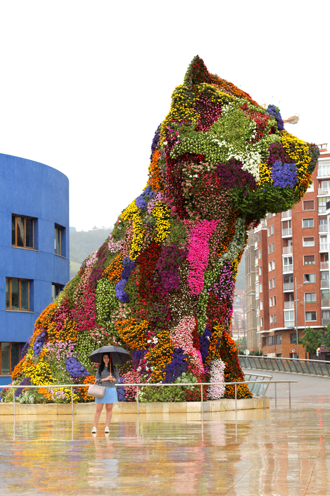 Guggenheim flower dog in Bilbao, Spain - London travel blog