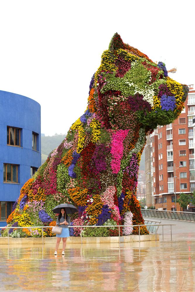 Guggenheim flower dog in Bilbao, Spain - London travel blog