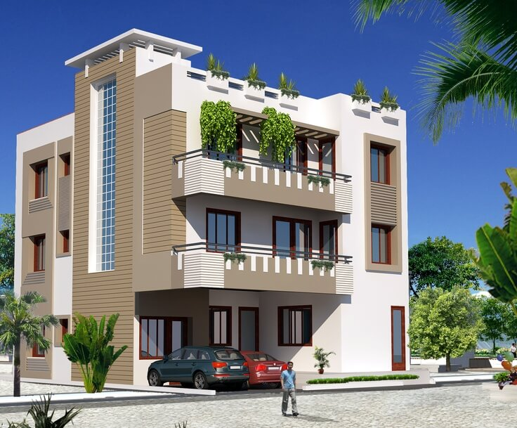 Home Front Elevation For 3 Floors : Top catalogue of house front elevation designs new update