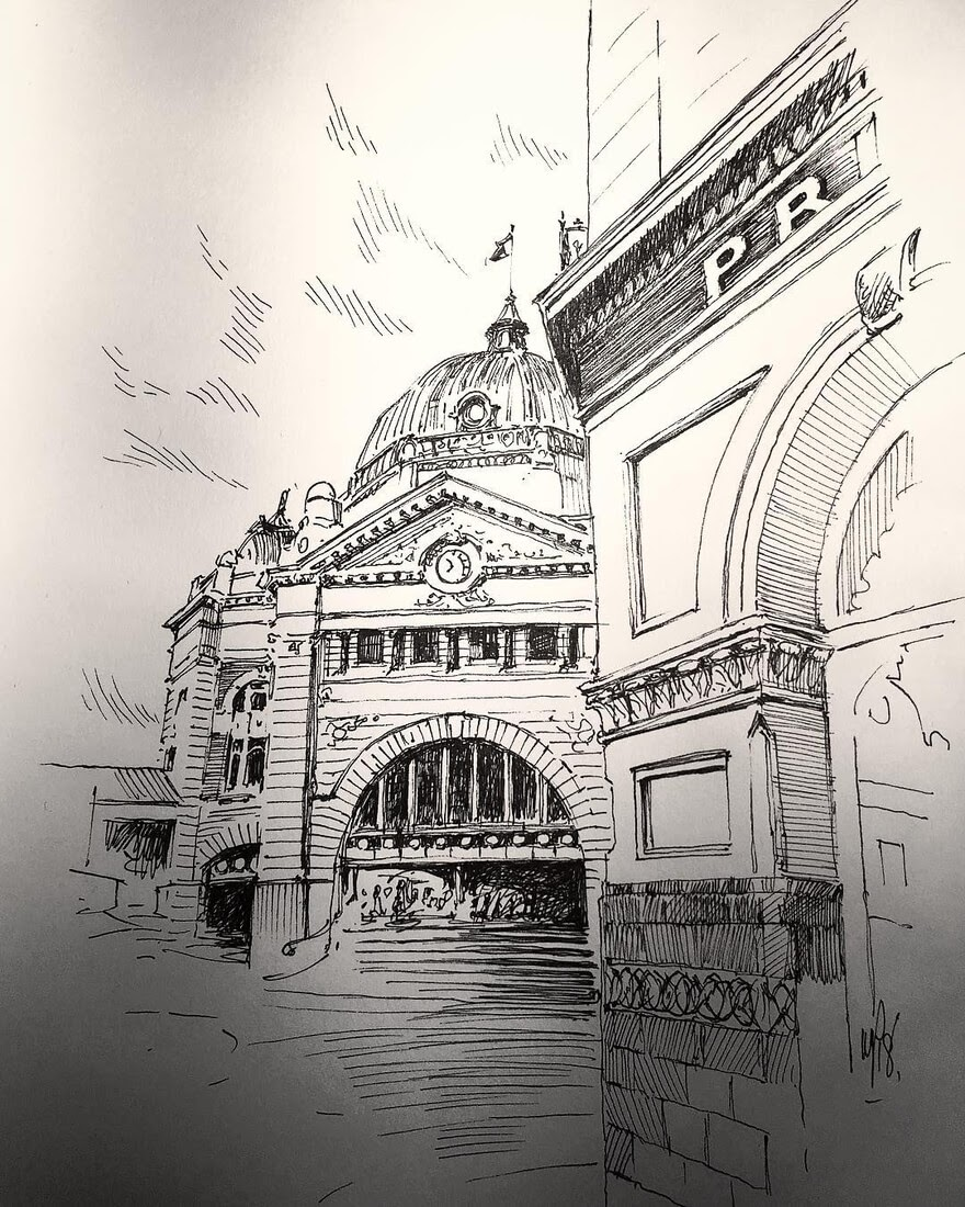 09-Melbourne-Mark-Poulier-Drawing-Urban-Architecture-on-a-Sketchbook-www-designstack-co