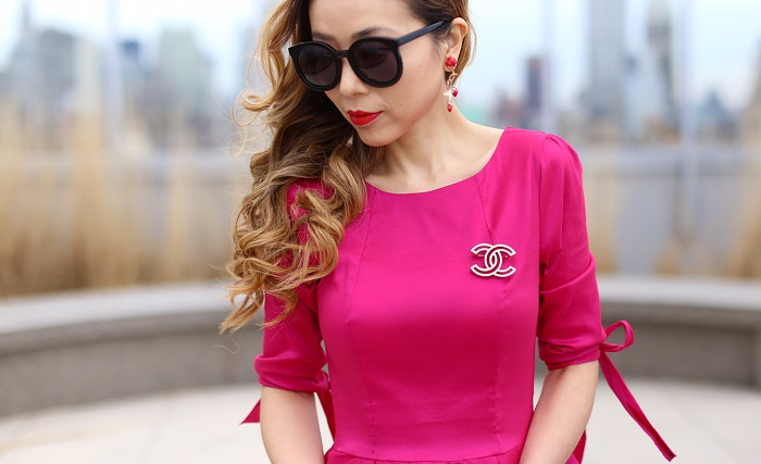 Shabby apple nutcracker dress, christian louboutin pink so kate pumps, chanel brooch, karen walker super duper sunglasses, baublebar earrings, kate spade bobi bag, furla bag, spring outfit ideas, monochromatic pink outfit, spring sale
