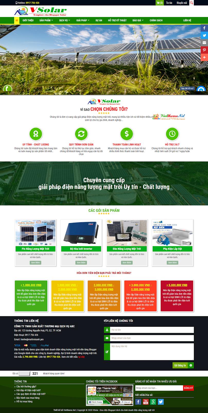 VSolar - Mẫu giao diện website nền tảng Blogger Google dành cho kinh doanh Điện năng lượng mặt trời
