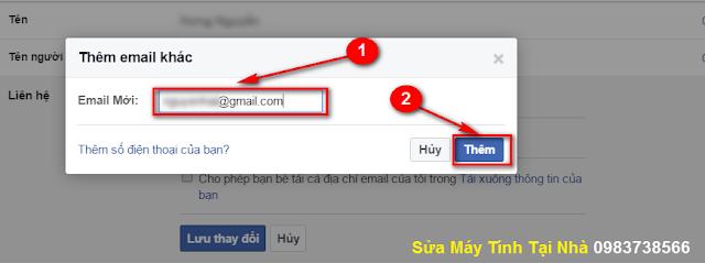 Thêm địa chỉ Mail mới trong Facebook