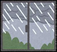 窓の外の天気のイラスト(雨)