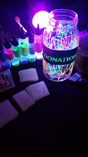 Donation Jar with decorative glow paints