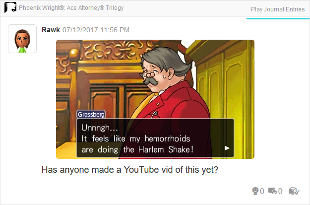 Phoenix Wright Ace Attorney Trials and Tribulations Marvin Grossberg hemorrhoids Harlem Shake
