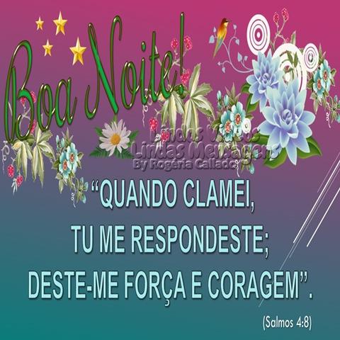 """Boa Noite!  """"QUANDO CLAMEI, TU ME RESPONDESTE;  DESTE-ME FORÇA E CORAGEM"""".  (Salmos 4:8)"""