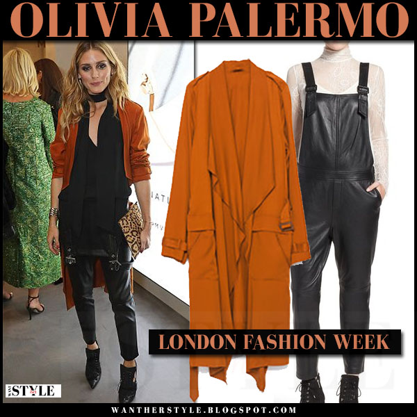 Olivia Palermo in orange waterfall trench coat and black leather overalls chelsea28 london fashion week what she wore