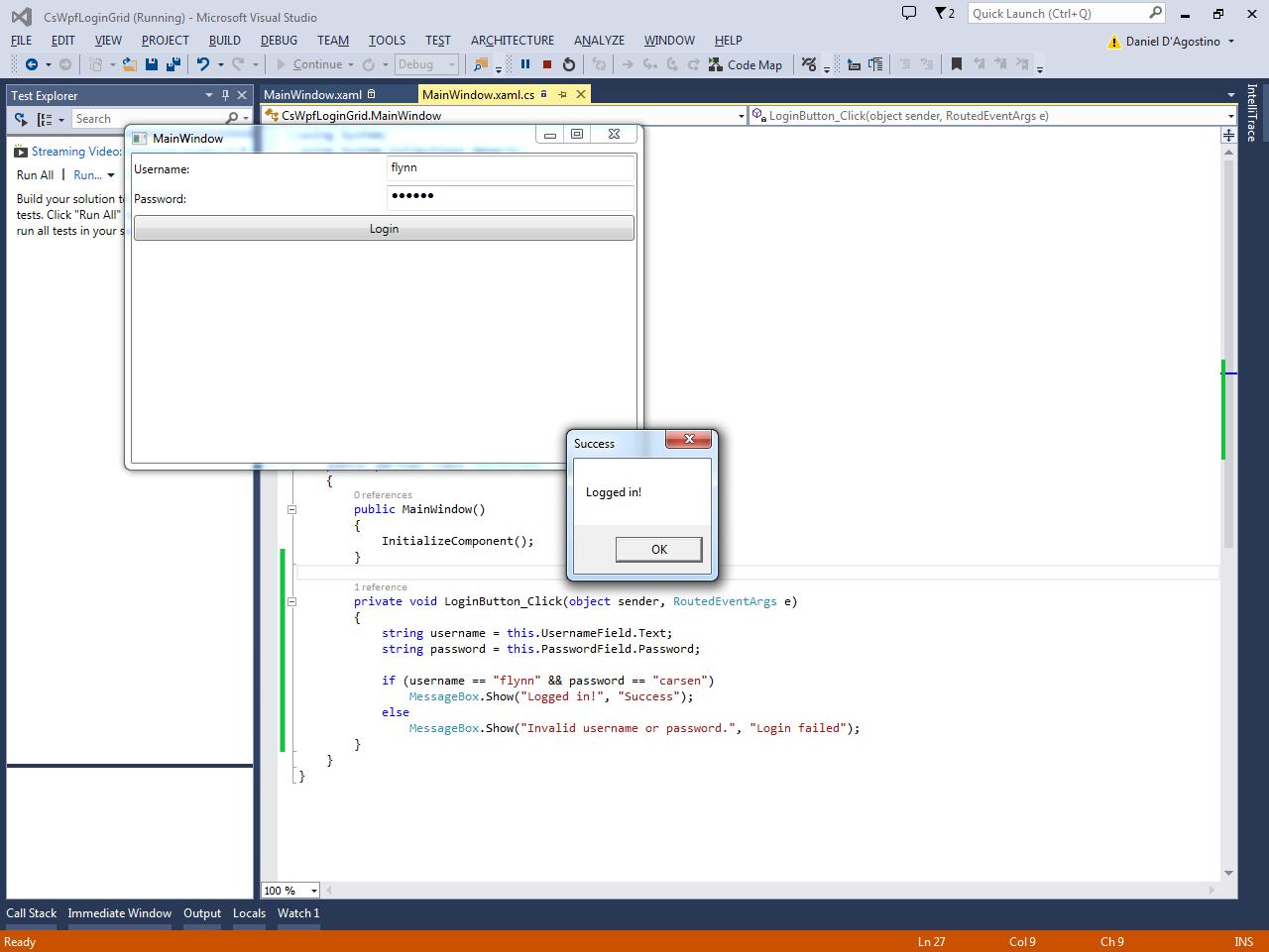 Programmer's Ranch: C# WPF: Basic Login Form using a Grid