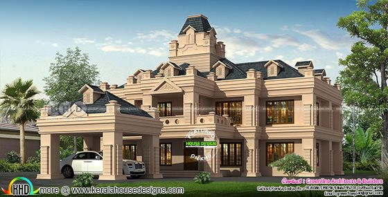 Colonial style super luxury mud color home