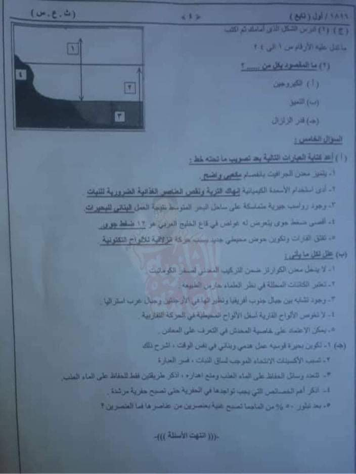 امتحان السودان فى الجيولوجيا للصف الثالث الثانوى 2019 - موقع مدرستى