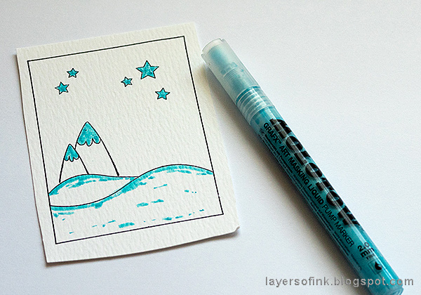 Layers of ink - Dimensional Winter Scene in an Altered Tin Tutorial by Anna-Karin Evaldsson, masking pen.