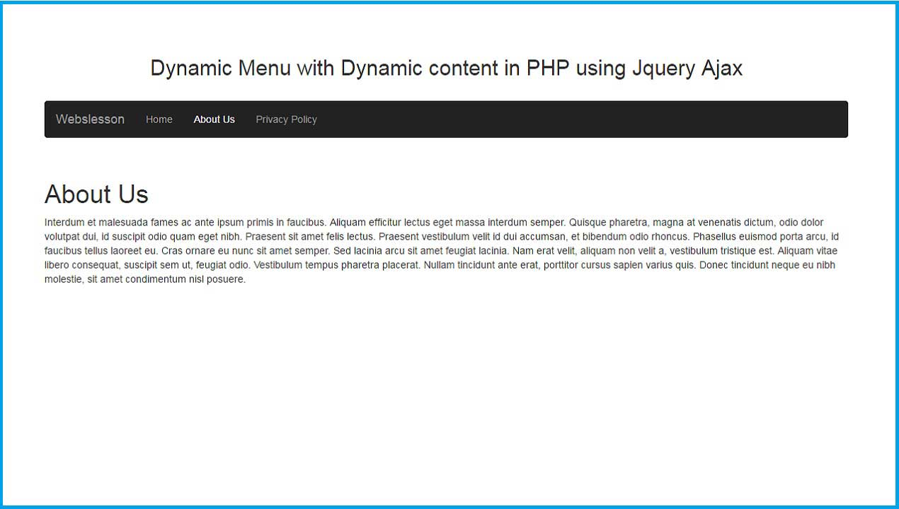 dynamic menu with dynamic content in php using jquery ajax webslesson