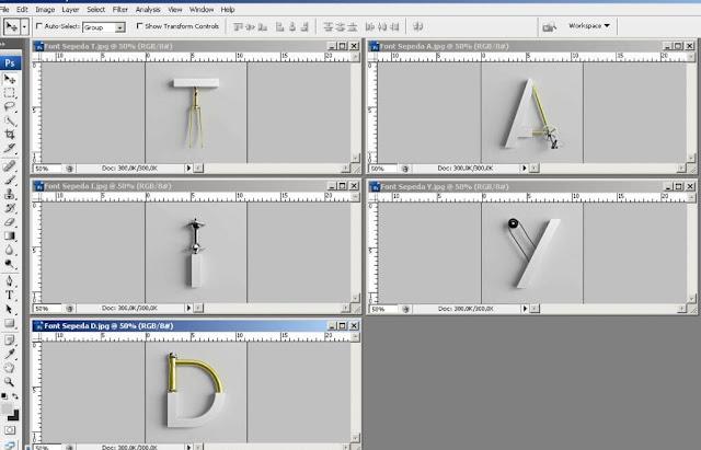 Membuat Model Tulisan Keren Huruf Sepeda dengan Mudah di Photoshop