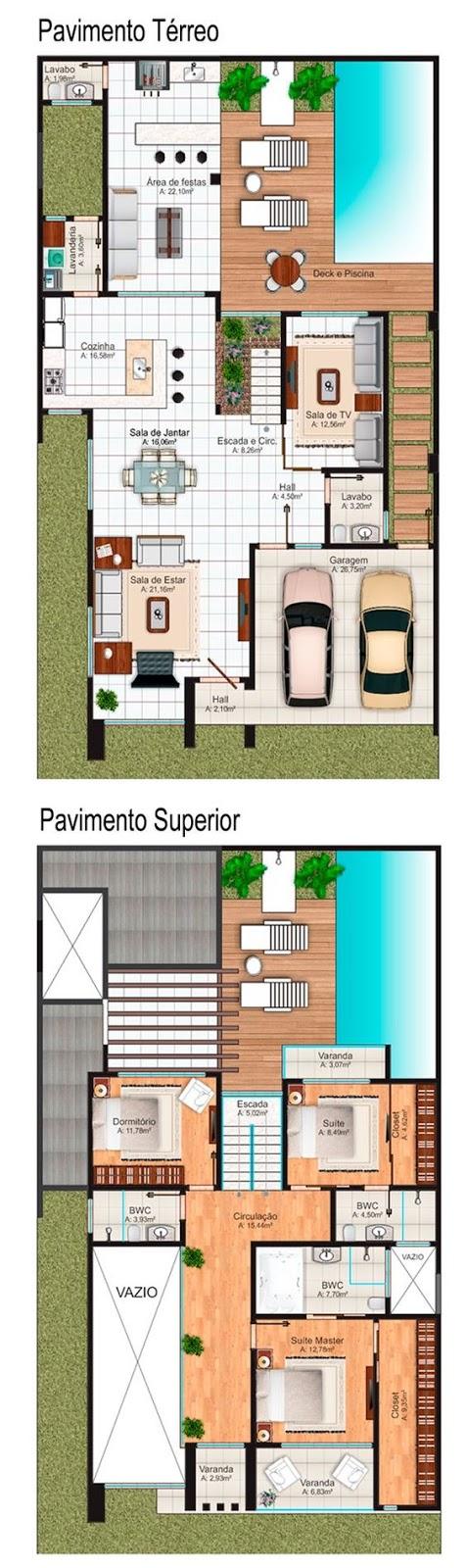 Duplex House floor plan in Belo Horizonte 267 square meters with 4 bedrooms