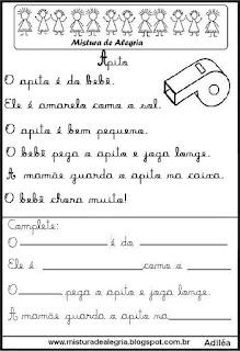 Pequenos textos para alfabetização com apito