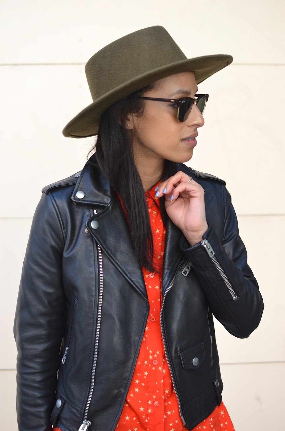 allergic to vanilla, twinkle start shirt, star button up shirt, Goorin Bros fedora, BCBG leather moto jacket, J. Crew toothpick denim, Coach pumps, SF street style