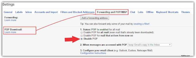 POP Download Disable POP Gmail