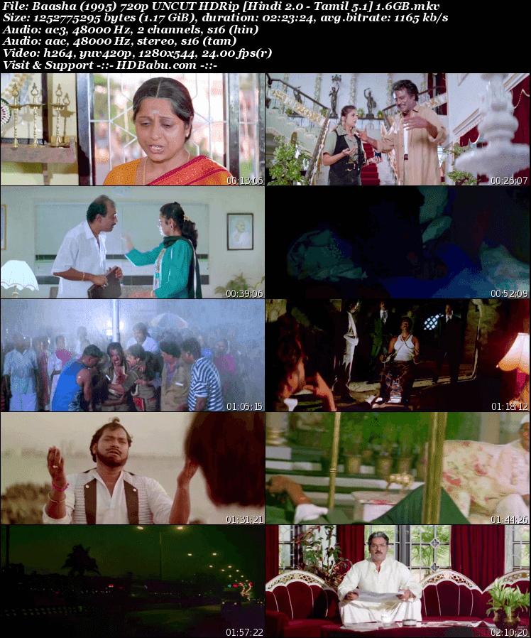 Baasha Hindi Dual Audio Full Movie Download, Baasha 1995 Tmail Movie in Hindi Dubbed,Baasha Hindi - Tamil UnCut 720p HDRip 480p 1.2GB 350MB Download Full HD MKV MP4