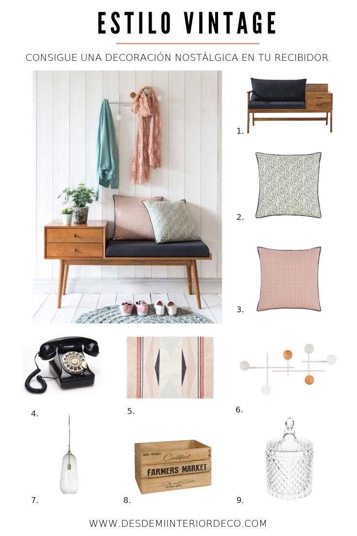 decoración recibidor estilo vintage propuesta copia el look con mobiliario de Maison du Monde
