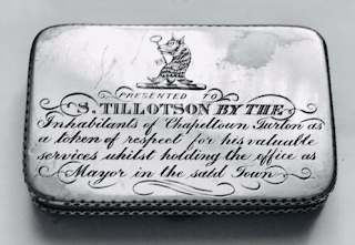 Antique silver box presented to S. Tillotson