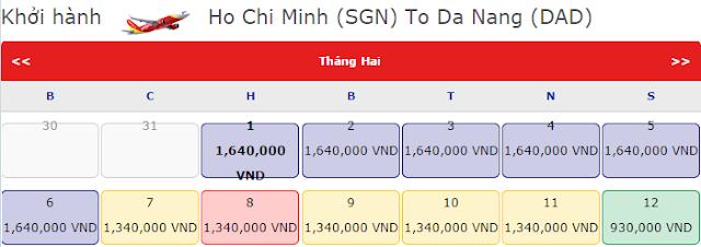 Vé máy bay tết Hồ Chí Minh đi Đà Nẵng giá chỉ 1,640k vnđ