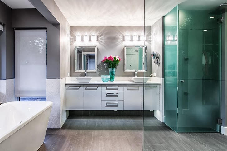 Bathroom in Contemporary home by Trevor Euley in Canada