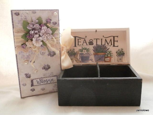 pudełko Provance i czekoladownik w fioletach