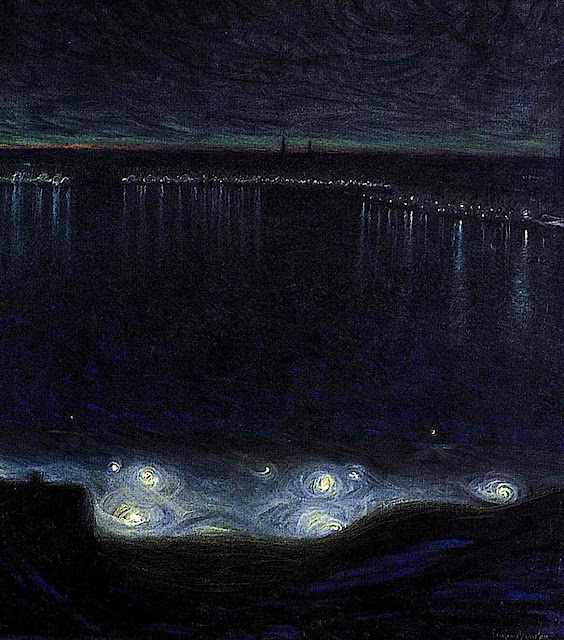 Felix Vallotton painting of lake at night