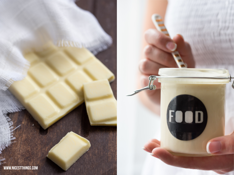 Food Photography White Chocolate Nutellaglas in Hand
