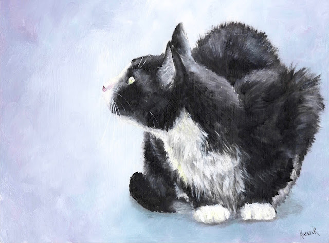 oil painting of a black and white cat, crouching