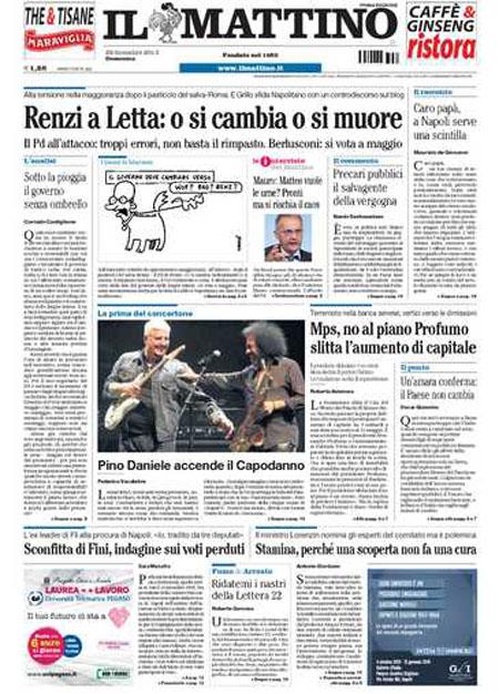 IL SUD IN PRIMA PAGINA. Pino Daniele accende il Capodanno a Napoli. Crocetta battuto sulle Province