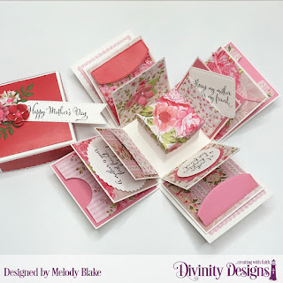Divinity Designs Stamp Set: Daughter's Best Friend, Custom Dies: Explosion Box, Explosion Box Pockets and Layers, Mini Box, Alphabet Flags, Bitty Blooms, Bitty Blossoms, Circles, Double Stitched Pennant Flags, Mini Stitched Hearts, Scalloped Circles, Scalloped Squares, Squares, Double Stitched Rounded Rectangles, Paper Collection: Pretty Pink Peonies