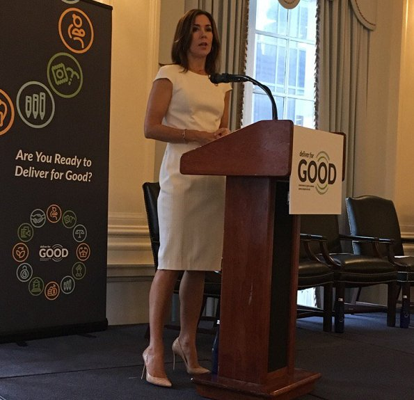 Princess Mary wears Cartier Love gold diamond bracelet, prada dress and shoes at Chibok and Yazidi girls and women conference