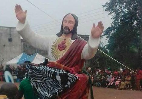 masquerade jesus statue perform anambra