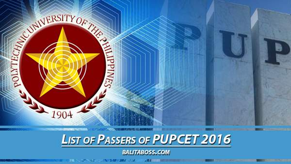 PUPCET Results 2016