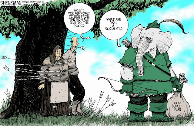 GOP Elephant dressed as Robin Hood holding bag of loot labeled