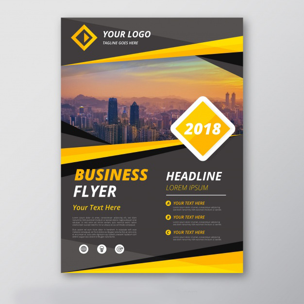 Grey And Yellow Business Flyer Template Free Vector Vectorkh