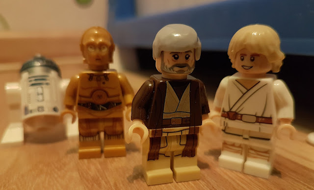 C-3PO, R2-D2, Obi-Wan Kenobi and Luke Skywalker, Jedi Death Star A New Hope lego Star Wars