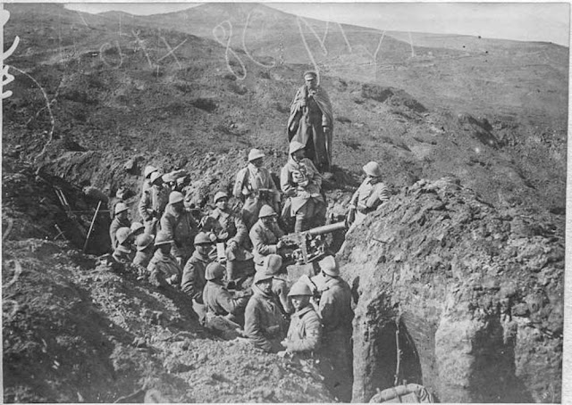 The attack on the Hill 1248 near Bitola (Monastir) (16-26 March 1917).  First front lines near Bitola: Battle around the Hill 1248. Reserves waiting to go to reinforce 1248 in the trenches conquered the day before